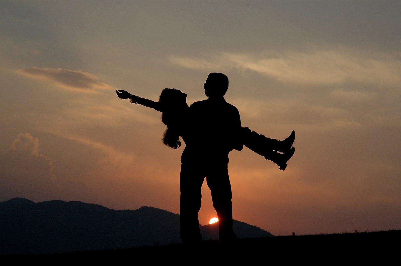zamilovaný pár, siluety